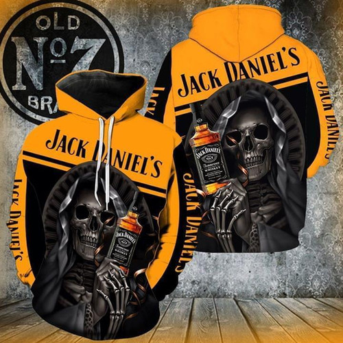 **(OFFICIAL-JACK-DANIEL'S-OLD-NO.7-BRAND-WHISKEY-PULLOVER-HOODIES & CLASSIC-GRIM-REAPER/CUSTOM-3D-GRAPHIC-PRINTED-DOUBLE-SIDED-ALL-OVER-DESIGN/WITH-BLACK & ORANGE-TWO-TONE-COLORED/WARM-PREMIUM-TRENDY-BAR-DRINKING & PARTY-PULLOVER-HOODIES)**