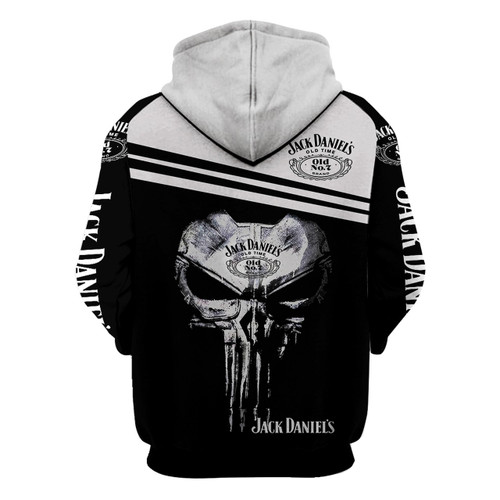 **(OFFICIAL-JACK-DANIEL'S-OLD-NO.7-BRAND-WHISKEY-PULLOVER-HOODIES & CLASSIC-PUNISHER-SKULL/CUSTOM-3D-GRAPHIC-PRINTED-DOUBLE-SIDED-ALL-OVER-DESIGN/WITH-BLACK & WHITE-TWO-TONE-COLORED/WARM-PREMIUM-TRENDY-BAR-DRINKING & PARTY-PULLOVER-HOODIES)**