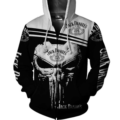 **(OFFICIAL-JACK-DANIEL'S-OLD-NO.7-BRAND-WHISKEY-ZIPPERED-HOODIES & CLASSIC-PUNISHER-SKULL/CUSTOM-3D-GRAPHIC-PRINTED-DOUBLE-SIDED-ALL-OVER-DESIGN/WITH-BLACK & WHITE-TWO-TONE-COLORED/WARM-PREMIUM-TRENDY-BAR-DRINKING & PARTY-ZIPPERED-HOODIES)**