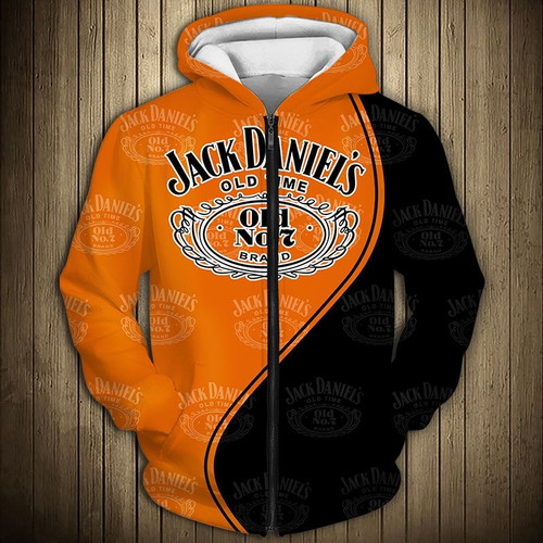 **(OFFICIAL-JACK-DANIEL'S-OLD-NO.7-BRAND-WHISKEY-ZIPPERED-HOODIES/OFFICIAL-JACK-DANIELS-LOGOS & CUSTOM-3D-GRAPHIC-PRINTED-DOUBLE-SIDED-BLACK & ORANGE-TWO-TONE-COLORED/WARM-PREMIUM-TRENDY-BAR-DRINKING & PARTY-ZIPPERED-OLD-NO.7-HOODIES)**