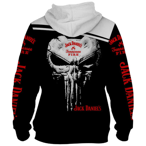 **(OFFICIAL-JACK-DANIEL'S-TENNESSEE-FIRE-WHISKEY-PULLOVER-HOODIES & CLASSIC-PUNISHER-SKULL/CUSTOM-3D-GRAPHIC-PRINTED-DOUBLE-SIDED-ALL-OVER-DESIGN/WITH-BLACK & WHITE-TWO-TONE-COLORED/WARM-PREMIUM-TRENDY-BAR-DRINKING & PARTY-PULLOVER-HOODIES)**
