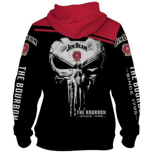 **(OFFICIAL-CLASSIC-JIM-BEAM-BOURBON & THE-BOURBON-SINCE-1795-PULLOVER-HOODIES/CLASSIC-PUNISHER-SKULL/CUSTOM-3D-GRAPHIC-PRINTED-DOUBLE-DESIGN/OFFICIAL-JIM-BEAM-BLACK & RED-TWO-TONE-COLORED/WARM-PREMIUM-TRENDY-BAR-DRINKING & PARTY-PULLOVER-HOODIES)**