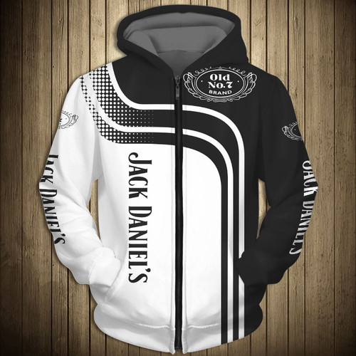 **(OFFICIAL-JACK-DANIEL'S-OLD-NO.7-BRAND-WHISKEY-ZIPPERED-HOODIES & CUSTOM-3D-GRAPHIC-PRINTED-JACK-DANIELS-ARM-SLEEVES/CUSTOM-3D-DOUBLE-SIDED-BLACK & WHITE-TWO-TONE-COLORED-DESIGN/WARM-PREMIUM-TRENDY-BAR-DRINKING & PARTY-ZIPPERED-HOODIES)**