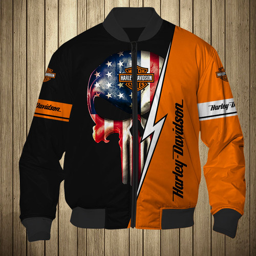 **(OFFICIAL-HARLEY-DAVIDSON-MOTORCYCLE-FLIGHT-JACKETS/CUSTOM-DETAILED-3D-GRAPHIC-PRINTED-CLASSIC-PATRIOTIC-PUNISHER-SKULL-DESIGN/OFFICIAL-CUSTOM-HARLEY-LOGOS & OFFICIAL-CLASSIC-BLACK & ORANGE-HARLEY-COLORS/PREMIUM-HARLEY-RIDING-FLIGHT-JACKETS)**