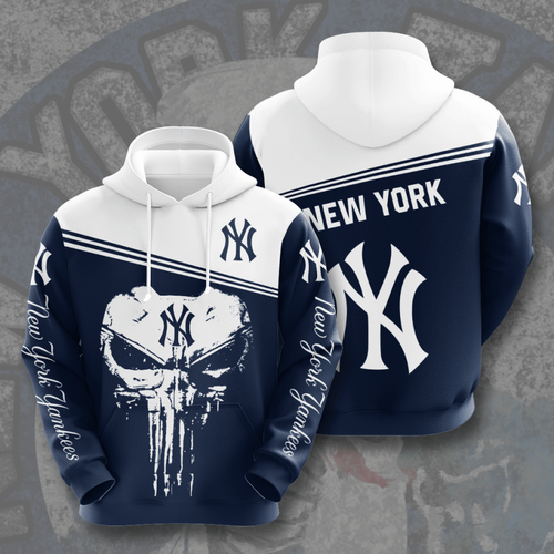 **(OFFICIAL-M.L.B. NEW-YORK-YANKEES-TEAM-PULLOVER-HOODIES & CLASSIC-PUNISHER-SKULL-LOGO/CUSTOM-3D-GRAPHIC-PRINTED-ALL-OVER-DOUBLE-SIDED-DESIGN/OFFICIAL-YANKEES-TEAM-COLORS & CLASSIC-YANKEES-BASEBALL-3D-YANKEES-LOGOS/WARM-PREMIUM-PULLOVER-HOODIES)**