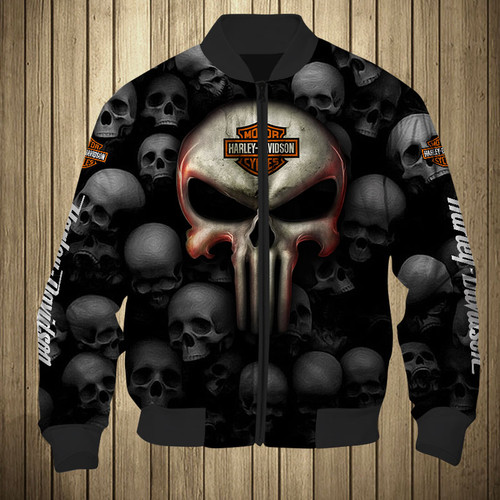 **(OFFICIAL-HARLEY-DAVIDSON-MOTORCYCLE-FLIGHT-JACKETS & BIG-HARLEY-PUNISHER-SKULL/FEATURING-OFFICIAL-CUSTOM-HARLEY-3D-LOGOS & OFFICIAL-CLASSIC-HARLEY-COLORS/SPECIAL-CUSTOM-3D-GRAPHIC-PRINTED-DOUBLE-SIDED-ALL-OVER-DESIGN/WARM-PREMIUM-FASHION-HARLEY-RIDING-BIKER-FLIGHT-JACKETS)**