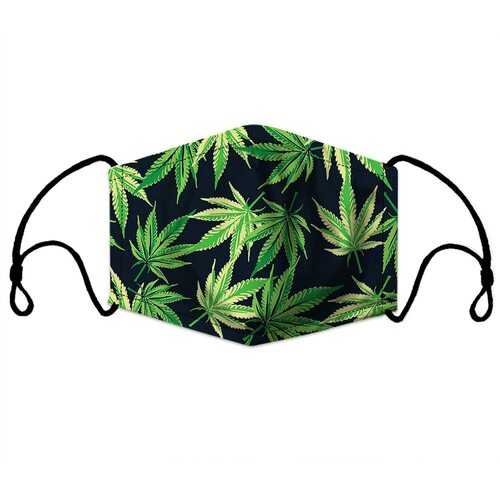 **(ADULT MENS & WOMENS POT-LEAFS CUSTOM 3D PRINTED DESIGNS/BREATHABLE PM2.5 FILTER BACTERIA/VIRUS PROOF & ANTI DUST PROOF WITH-ADJUSTABLE TIE-BACKS/REUSABLE-MACHINE-WASHABLE CUSTOM FACE MASKS/ADJUSTABLE-NOSE-CLIPS & INSIDE-5-LAYERED-FILTERS)**