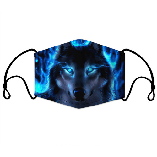 **(ADULT MENS & WOMENS BLUE WOLF CUSTOM 3D PRINTED DESIGNS/BREATHABLE PM2.5 FILTER BACTERIA/VIRUS PROOF & ANTI DUST PROOF WITH-ADJUSTABLE TIE-BACKS/REUSABLE-MACHINE-WASHABLE CUSTOM FACE MASKS/ADJUSTABLE-NOSE-CLIPS & INSIDE-5-LAYERED-FILTERS)**