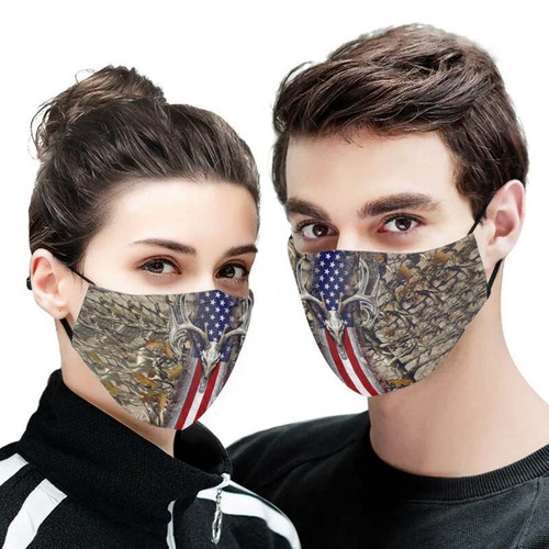 **(MENS PATRIOTIC-DEER SKULL CAMO.CUSTOM 3D PRINTED DESIGNS/BREATHABLE PM2.5 FILTER BACTERIA/VIRUS PROOF & ANTI DUST PROOF WITH-ADJUSTABLE TIE-BACKS/REUSABLE-MACHINE-WASHABLE CUSTOM FACE MASKS/ADJUSTABLE-NOSE-CLIPS & INSIDE-5-LAYERED-FILTERS)**