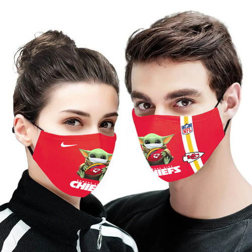 **(OFFICIAL KANSAS-CITY-CHIEFS CUSTOM 3D PRINTED DESIGNS/BREATHABLE PM2.5 FILTER BACTERIA/VIRUS PROOF & ANTI DUST PROOF WITH-ADJUSTABLE TIE-BACKS/REUSABLE-MACHINE-WASHABLE CUSTOM FACE MASKS/WITH ADJUSTABLE-NOSE-CLIPS & INSIDE-5-LAYERED-FILTERS)**