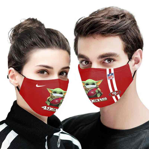 **(OFFICIAL SAN FRANCISCO 49ERS CUSTOM 3D PRINTED DESIGNS/BREATHABLE PM2.5 FILTER BACTERIA/VIRUS PROOF & ANTI DUST PROOF WITH-ADJUSTABLE TIE-BACKS/REUSABLE-MACHINE-WASHABLE CUSTOM FACE MASKS/WITH ADJUSTABLE-NOSE-CLIPS & INSIDE-5-LAYERED-FILTERS)**