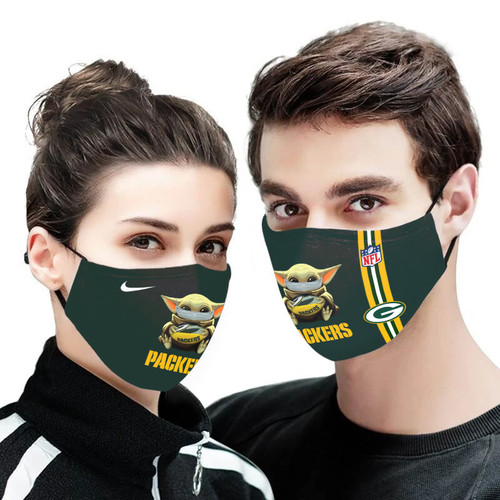 **(OFFICIAL GREEN-BAY-PACKERS CUSTOM 3D PRINTED DESIGNS/BREATHABLE PM2.5 FILTER BACTERIA/VIRUS PROOF & ANTI DUST PROOF WITH-ADJUSTABLE TIE-BACKS/REUSABLE-MACHINE-WASHABLE CUSTOM FACE MASKS/WITH ADJUSTABLE-NOSE-CLIPS & INSIDE-5-LAYERED-FILTERS)**