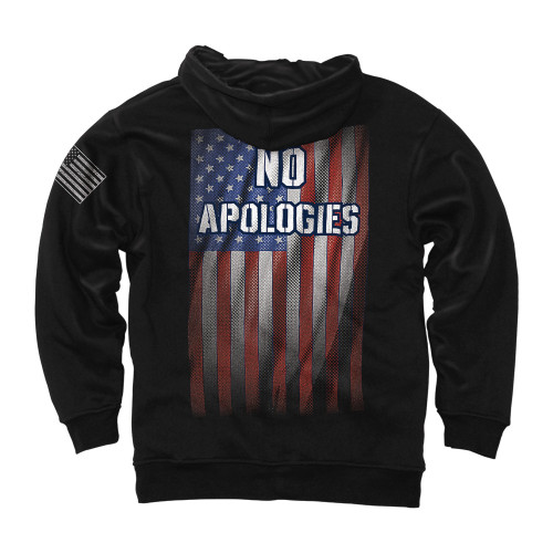 """""""No Apologies""""  •Heavyweight 8oz 60/40 Poly/Cotton NuBlend©  •Two-needle cover stitching on neck, armholes and waistband  •Air Jet Yarn (Softer Feel and Reduced Piling)  •Matching tipped and knotted draw-cord  •Front pouch pocket  •High Quality Screen Print Artwork  •American Flag Sleeve Print"""