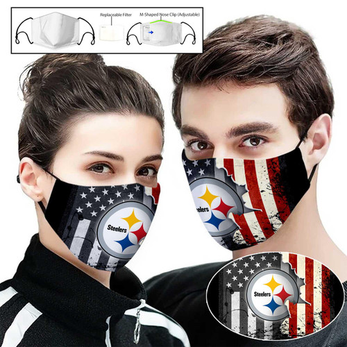 **(OFFICIAL PITTSBURGH STEELERS CUSTOM 3D PRINTED DESIGNS/BREATHABLE PM2.5 FILTER BACTERIA/VIRUS PROOF & ANTI DUST PROOF WITH-ADJUSTABLE TIE-BACKS/REUSABLE-MACHINE-WASHABLE CUSTOM FACE MASKS/WITH ADJUSTABLE-NOSE-CLIPS & INSIDE-5-LAYERED-FILTERS)**