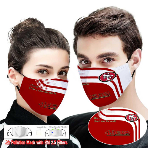**(OFFICIAL SAN-FRANCISCO-49ERS PATRIOTIC CUSTOM PRINTED DESIGNS/BREATHABLE PM2.5 FILTER BACTERIA/VIRUS PROOF & ANTI DUST PROOF WITH-ADJUSTABLE TIE-BACKS/REUSABLE-MACHINE-WASHABLE CUSTOM FACE MASKS/ADJUSTABLE-NOSE-CLIPS & INSIDE-5-LAYERED-FILTERS)**