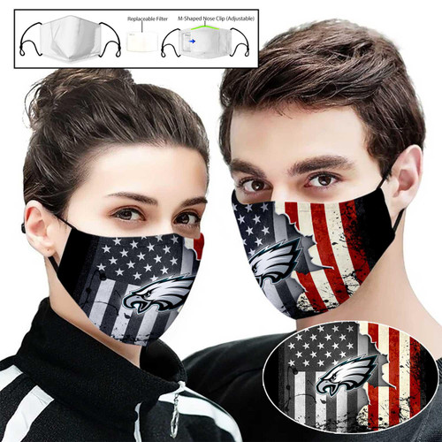 **(OFFICIAL-PHILADELPIA-EAGLES-PATRIOTIC CUSTOM PRINTED DESIGNS/BREATHABLE PM2.5 FILTER BACTERIA/VIRUS PROOF & ANTI DUST PROOF WITH-ADJUSTABLE TIE-BACKS/REUSABLE-MACHINE-WASHABLE CUSTOM FACE MASKS/ADJUSTABLE-NOSE-CLIPS & INSIDE-5-LAYERED-FILTERS)**