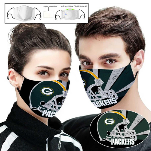 **(OFFICIAL-GREEN-BAY-PACKERS-TEAM CUSTOM 3D PRINTED DESIGNS/BREATHABLE PM2.5 FILTER BACTERIA/VIRUS PROOF & ANTI DUST PROOF WITH-ADJUSTABLE TIE-BACKS/REUSABLE-MACHINE-WASHABLE CUSTOM FACE MASKS/ADJUSTABLE-NOSE-CLIPS & INSIDE-5-LAYERED-FILTERS)**