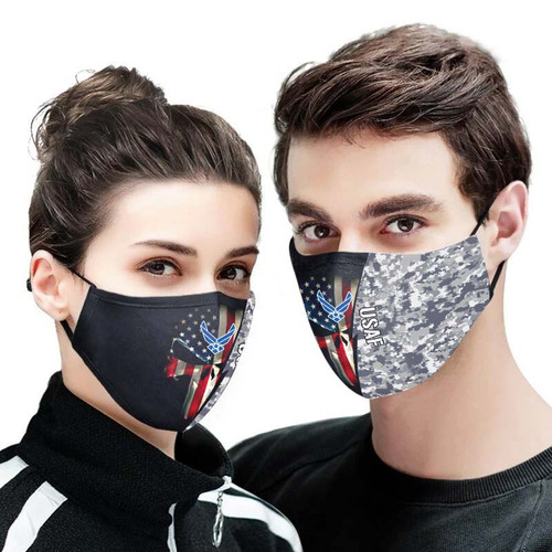 **(OFFICIAL U.S.AIR FORCE FLAG CAMO.CUSTOM 3D PRINT DESIGNS/BREATHABLE PM2.5 FILTER BACTERIA/VIRUS PROOF & ANTI DUST PROOF WITH-ADJUSTABLE TIE-BACKS/REUSABLE-MACHINE-WASHABLE CUSTOM FACE MASKS/WITH ADJUSTABLE-NOSE-CLIPS & INSIDE-5-LAYERED-FILTERS)**