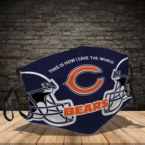 **(OFFICIAL-CHICAGO-BEARS-TEAM CUSTOM-3D-PRINTED DESIGNS/BREATHABLE PM2.5 FILTER BACTERIA/VIRUS PROOF & ANTI DUST PROOF WITH-ADJUSTABLE TIE-BACKS/REUSABLE-MACHINE-WASHABLE CUSTOM FACE MASKS/ALL-ADJUSTABLE-NOSE-CLIPS & INSIDE-5-LAYERED-FILTERS)**