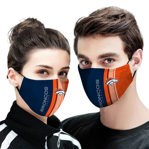 **(OFFICIAL-DENVER-BRONCOS-TEAM CUSTOM-3D-PRINTED DESIGNS/BREATHABLE PM2.5 FILTER BACTERIA/VIRUS PROOF & ANTI DUST PROOF WITH-ADJUSTABLE TIE-BACKS/REUSABLE-MACHINE-WASHABLE CUSTOM FACE MASKS/ALL-ADJUSTABLE-NOSE-CLIPS & INSIDE-5-LAYERED-FILTERS)**
