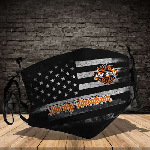 **(OFFICIAL-HARLEY-DAVIDSON-FLAG-CUSTOM-3D-PRINTED DESIGNS/BREATHABLE PM2.5 FILTER BACTERIA/VIRUS PROOF & ANTI DUST PROOF WITH-ADJUSTABLE TIE-BACKS/REUSABLE-MACHINE-WASHABLE CUSTOM FACE MASKS/ALL-ADJUSTABLE-NOSE-CLIPS & INSIDE-5-LAYERED-FILTERS)**