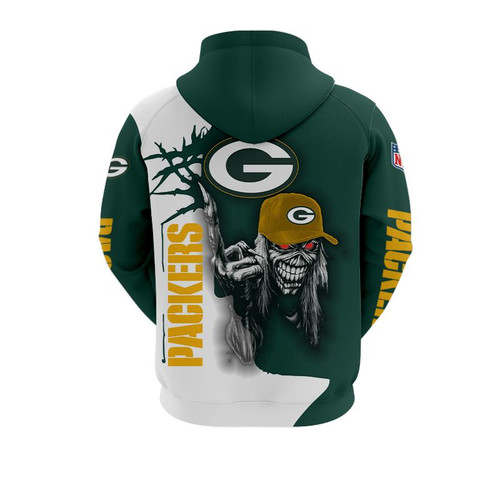 **(OFFICIAL-N.F.L.GREEN-BAY-PACKERS-TRENDY-PULLOVER-HOODIE & PACKERS-MUMMIFIED-SKELETON/NICE-CUSTOM-3D-EFFECT-GRAPHIC-PRINTED-ALL-OVER-DOUBLE-SIDED-DESIGNED/OFFICIAL-PACKERS-TEAM-COLORS & OFFICIAL-PACKERS-TEAM-LOGOS/WARM-PREMIUM-PULLOVER-HOODIES)**
