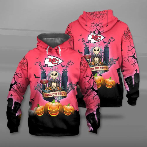 **(OFFICIAL-N.F.L.KANSAS-CITY-CHIEFS-PULLOVER-HOODIES & CLASSIC-JACK-SKELLINGTON-ANIMATED-HORROR-CHARACTER/OFFICIAL-CHIEFS-TEAM-LOGOS & OFFICIAL-CHIEFS-TEAM-COLORS/ALL-OVER-CUSTOM-GRAPHIC-3D-PRINTED-DESIGN/WARM-PREMIUM-CHIEFS-PULLOVER-HOODIES)**