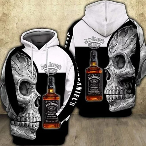 OFFICIAL-JACK-DANIELS-PULLOVER-HOODIE/CUSTOMIZED-3D-PRINTED-JACK-DANIELS-TRIBAL-SKULL-DESIGN!