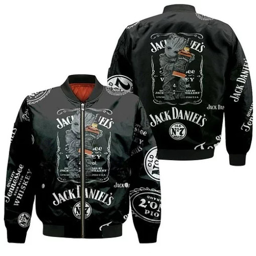 OFFICIAL-JACK-DANIELS-SPORT-FLIGHT-JACKET/NEW-CUSTOMIZED-3D-GRAPHIC-PRINTED-JACK-DANIELS-NO.7-GROOT-CHARACTER-DESIGN!