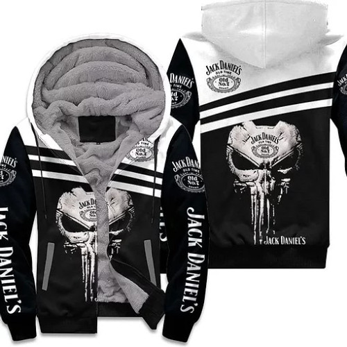 OFFICIAL-JACK-DANIELS-ZIP-FLEECE-HOODIES/CUSTOMIZED-3D-GRAPHIC-PRINTED-JACK-DANIELS-NO.7-PUNISHER-SKULL-DESIGN!