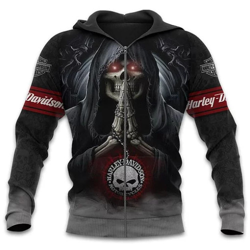 OFFICIAL-HARLEY-DAVIDSON-MOTORCYCLE-BIKERS-ZIPPERED-HOODIE/CLASSIC-CUSTOMIZED-3D-GRAPHIC-PRINTED-GRIM-REAPER-3D-DESIGN!
