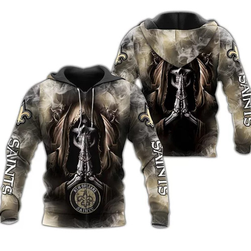 OFFICIAL-N.F.L.NEW-ORLEANS-SAINTS-PULLOVER-HOODIES/TRENDY-CUSTOMIZED-GRAPHIC-PRINTED-3D-SAINTS-TEAM-HOODED-GRIM-REAPER-DESIGN!