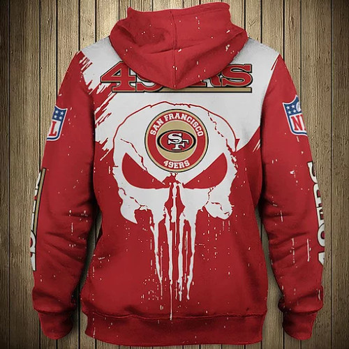 OFFICIAL-N.F.L.SAN-FRANCISCO-49ERS-ZIPPERED-HOODIE/CUSTOM-3D-TEAM-PUNISHER-SKULL