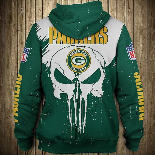 OFFICIAL-N.F.L.GREEN-BAY-PACKERS-ZIPPERED-HOODIE/CUSTOM-3D-PRINTED-PUNISHER-SKULL-DESIGN