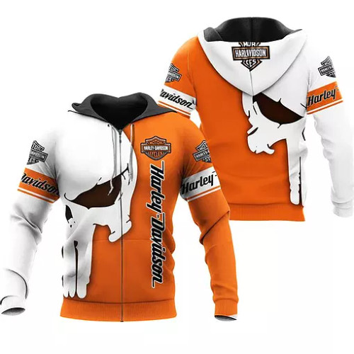 OFFICIAL-HARLEY-DAVIDSON-MOTORCYCLE-ZIPPERED-HOODIE/CUSTOMIZED-3D-PRINTED-PUNISHER-SKULL