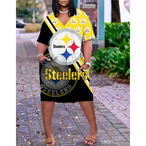 **(Official-NFL.Pittsburgh Steelers Team Limited Edition Trendy V-Neck Casual Womens Knee Length Pocket Dress)**