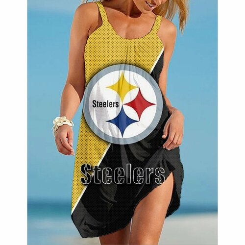 **(Official-NFL.Pittsburgh Steelers Team Limited Edition Trendy Casual Womens Summer Knee Length Beach Dress)**