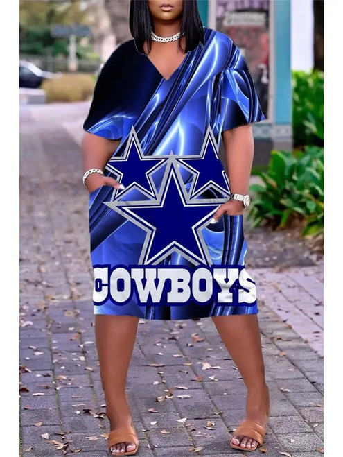 **(Official NFL.Dallas-Cowboys-Team Limited Edition Trendy V-Neck Casual Womens Knee Length Pocket Sport Dress)**