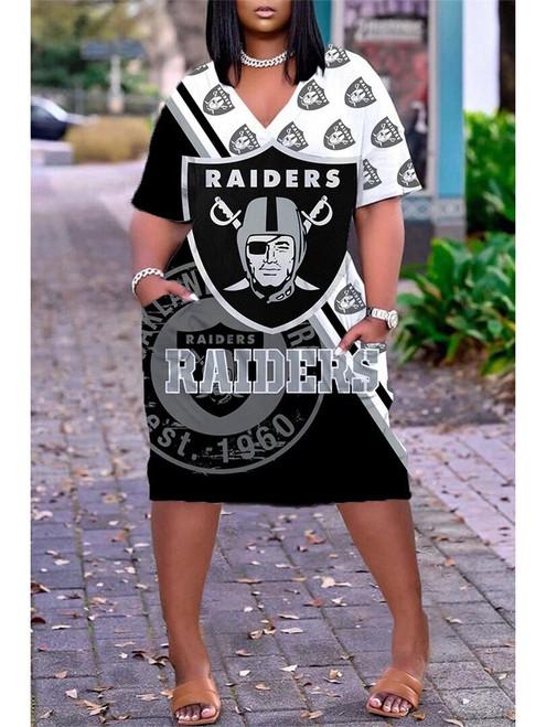 **(Official-NFL.Las-Vegas-Raiders-Team Limited Edition Trendy V-Neck Casual Womens Knee Length Pocket Team Dress)**