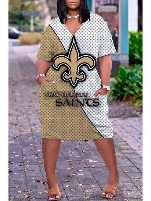 **(Official-NFL.New-Orleans-Saints-Team Limited Edition Trendy V-Neck Casual Womens Knee Length Team Pocket Dress)**