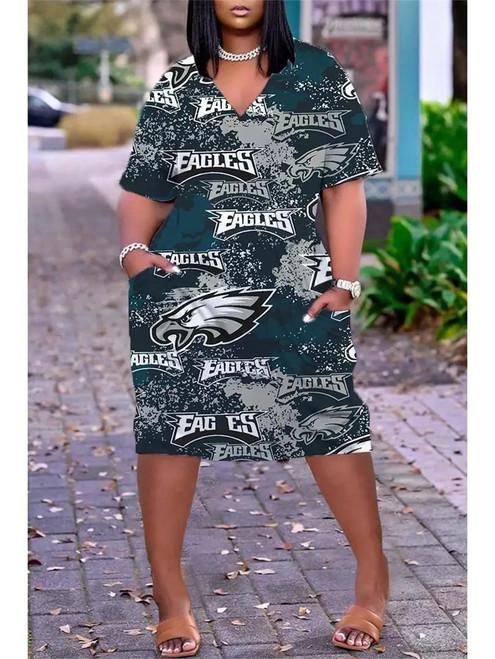 **(Official-NFL.Philadelphia-Eagles-Team Limited-Edition Trendy V-Neck Casual Womens Knee Length Game-Day-Team Pocket Dress)**