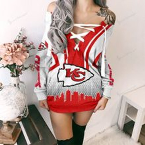 **(OFFICIAL NFL.KANSAS-CITY-CHIEFS TEAM GAME-DAY/LACE-UP-TOP & TRENDY OPEN-SHOULDER/DOWN OVER THE HIP NFL.CHIEFS TEAM FASHION SWEATSHIRTS)**