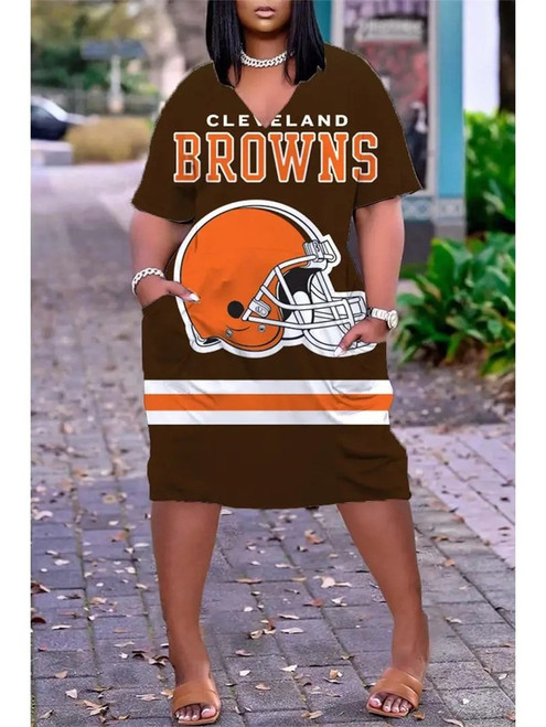 **(Official NFL.Cleveland-Browns-Team Limited Edition Trendy V-Neck Casual Womens Knee Length Pocket Browns Team Sport Dress)**