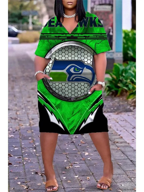 **(Official NFL.Seattle-Seahawks-Team Limited Edition Trendy V-Neck Casual Womens Knee Length Pocket Seahawks Team Sport Dress)**
