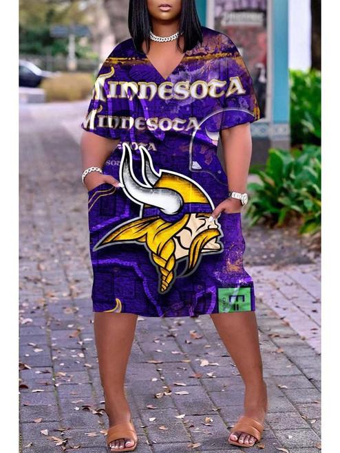 **(Official NFL.Minnesota-Vikings-Team Limited Edition Trendy V-Neck Casual Womens Knee Length Vikings Team Game/Day Sport Pocket Dress)**
