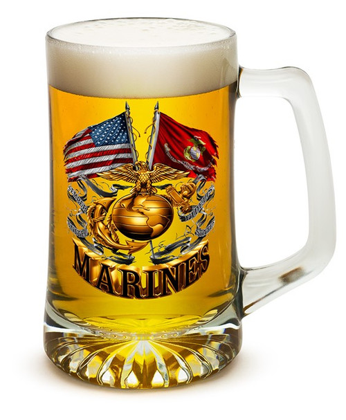**(OFFICIAL U.S. MARINES VETERANS GLASS TANKARD LARGE 25-OUNCES DRINKING BEER MUGS/OFFICIAL CUSTOM 3D GRAPHIC U.S.MARINES DOUBLE-SIDED-LOGOS)**