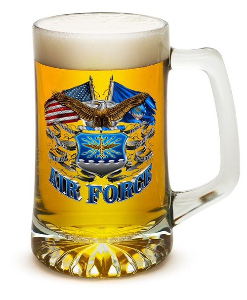 **(OFFICIAL U.S.AIR-FORCE VETERANS GLASS TANKARD LARGE 25-OUNCES DRINKING BEER MUGS/OFFICIAL CUSTOM 3D GRAPHIC U.S.AIR-FORCE DOUBLE-SIDED-LOGOS)**