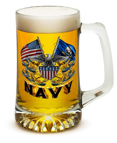 **(OFFICIAL U.S.NAVY VETERANS GLASS TANKARD LARGE 25-OUNCES DRINKING BEER MUGS/OFFICIAL CUSTOM 3D GRAPHIC U.S.NAVY DOUBLE-SIDED-LOGOS)**
