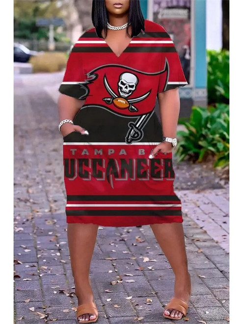 **(Official NFL.Tampa-Bay-Buccaneers-Team Limited-Edition Trendy V-Neck Casual Womens Knee Length Buccaneers Team Game/Day Sport Pocket Dress)**