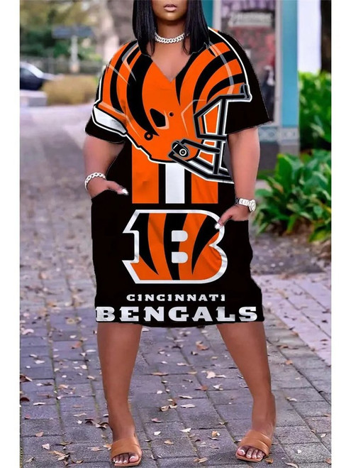 **(Official NFL.Cincinnati-Bengals-Team Limited-Edition Trendy V-Neck Casual Womens Knee Length Bengals Team Game/Day Sporty Pocket Dress)**
